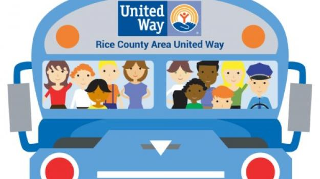 "Cheerful illustration of the front of a blue bus with Rice County Area United Way's logo in the ""destination"" area. People of diverse appearance are seen through the windshield."